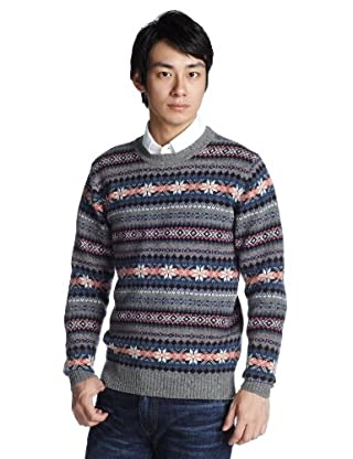 Fair Isle Wool Crewneck Sweater 1213-117-0853: Medium Grey