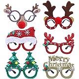 CCINEE メリークリスマスメガネフレーム 6個入り クリスマステーマ プラスチックグラス レンズなし クリスマスパーティーの記念品