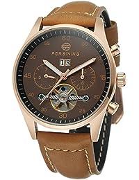 GuTe出品 腕時計 メンズ 自動巻き ペアウォッチ トゥールビョン 革バンド 日付 機械式 ブラウン