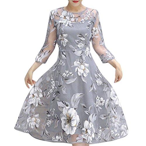 Women Cocktail Dress, SakuraBest Women's Summer Organza Floral Print Dress for Wedding Party Ball Gown (XL)