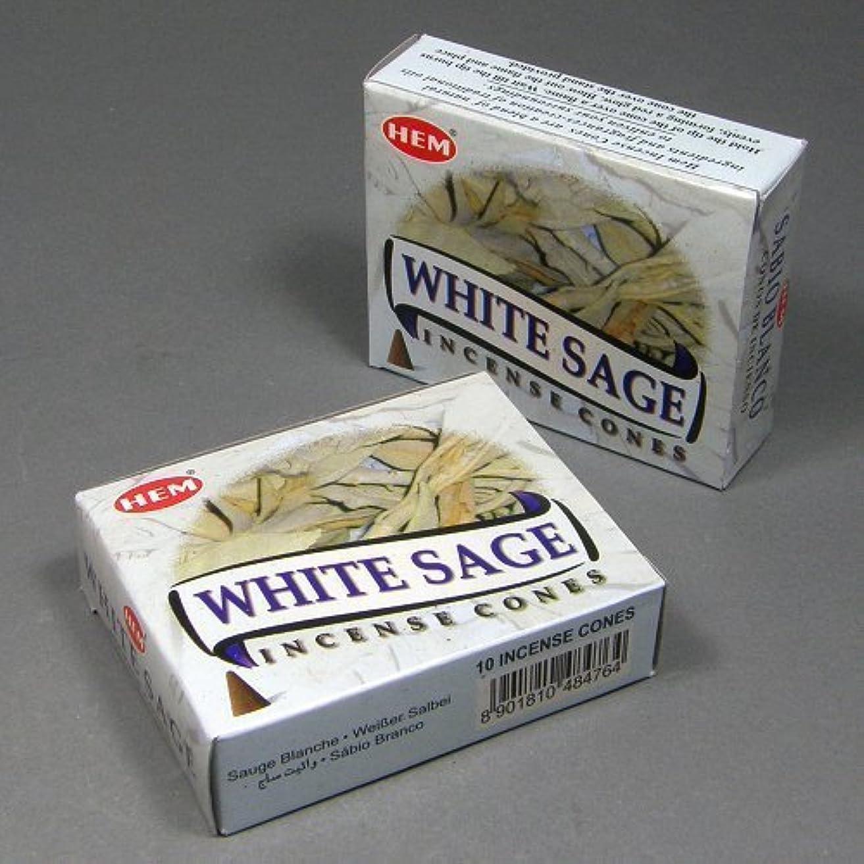戦争コマース強化Hemホワイトセージ香Dhoop Cones、10円錐のペアボックス