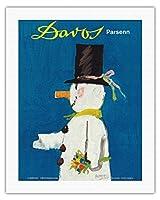 ダボス、スイス - パルセン山スキー場 - ビンテージな世界旅行のポスター によって作成された ハーバート・ルーピン c.1956 - キャンバスアート - 51cm x 66cm キャンバスアート(ロール)