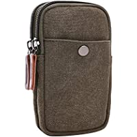 VRIKOO Vintage Canvas Tactical Waist Pouch Bag Outdoor Sports Hiking Running Universal Wallet Phone Pack with Belt Hook Loop