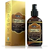 VoilaVe Usda And Ecocert Pure Organic Moroccan Argan Oil For Skin, Nails & Hair Growth, Anti-Aging Face Moisturizer, Cold Pre