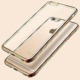 Ubegood iPhone6s/6Plusケース メッキ加工 弧状設計 脱着簡単 超薄型 耐衝撃 ソフト クリアTPUカバー ゴールド