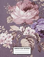 Composition Notebook: Pretty Drawing Art Flower Soft Glossy Cover Wide Ruled Blank Lined Soft Cover Journal Paper 7.44 x 9.69 Inches 110 Pages Wonderful for Teenage Girls Boys Kids Adults Elementary Supplies Student Teacher Nurse Daily