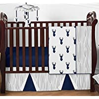 Navy Blue White and Gray Woodland Deer Print Boy Baby Bedding 4 Piece Crib Set Without Bumper [並行輸入品]