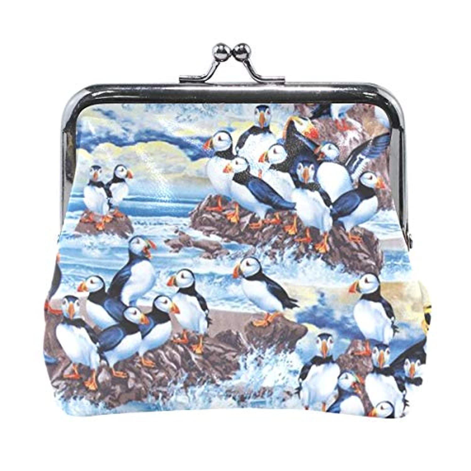 がま口 小銭入れ 財布 ペンギン コインケース レザー製 丸形 軽量 人気 おしゃれ プレゼント ギフト 雑貨