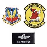 ミリタリーワッペン   アメリカ空軍 第334戦闘飛行隊  ベルクロ付き 3枚セット