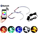 """GTinthebox (2) Bluetooth Wireless Remote Control 30-SMD RGB LED Demon Eye Halo Ring Kit For Car Auto Motorcycle Headlight Projectors or 2.5"""" 2.8"""" 3.0"""" Retrofit Projector Lens"""