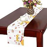 GGSXD テーブルランナー 面白い 柴犬 クロス 食卓カバー 麻綿製 欧米 おしゃれ 16 Inch X 72 Inch (40cm X 182cm) キッチン ダイニング ホーム デコレーション モダン リビング 洗える