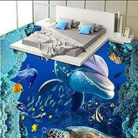Xueshao 防水床壁画3Dアンダーウォーターワールドドルフィンコーラルフローリングの壁紙-400X280Cm