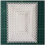 Letmefun Nested Stitched Scallop Rectangle Frame Cutting Dies, Metal Cutting Dies Stencils DIY Etched Dies Craft Paper Card M