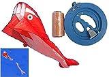 2m 赤 いるか タコ たこ 凧 カイト+2.5m飛沫/18cmリール式 糸巻き/150m凧糸/スイベル(サルカン)4点セット