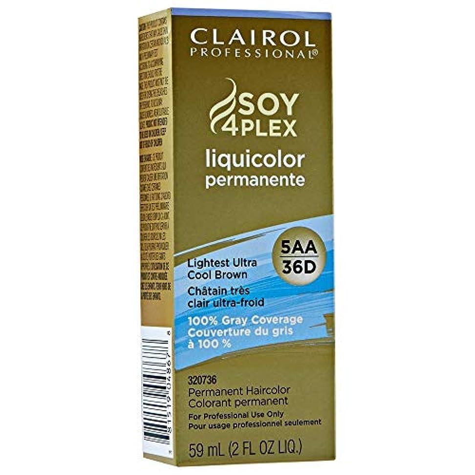 合金編集者骨折Clairol Professional Soy 4 Plex Liquicolor Permanent 36D Lightest Ultra Cool Brown 59 ml (並行輸入品)