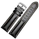 ノーブランド品 腕時計レザーベルト 革 カーフ オメガ ハミルトン シチズン 取付タイプ 幅多数 LB176-BK20 [並行輸入品]