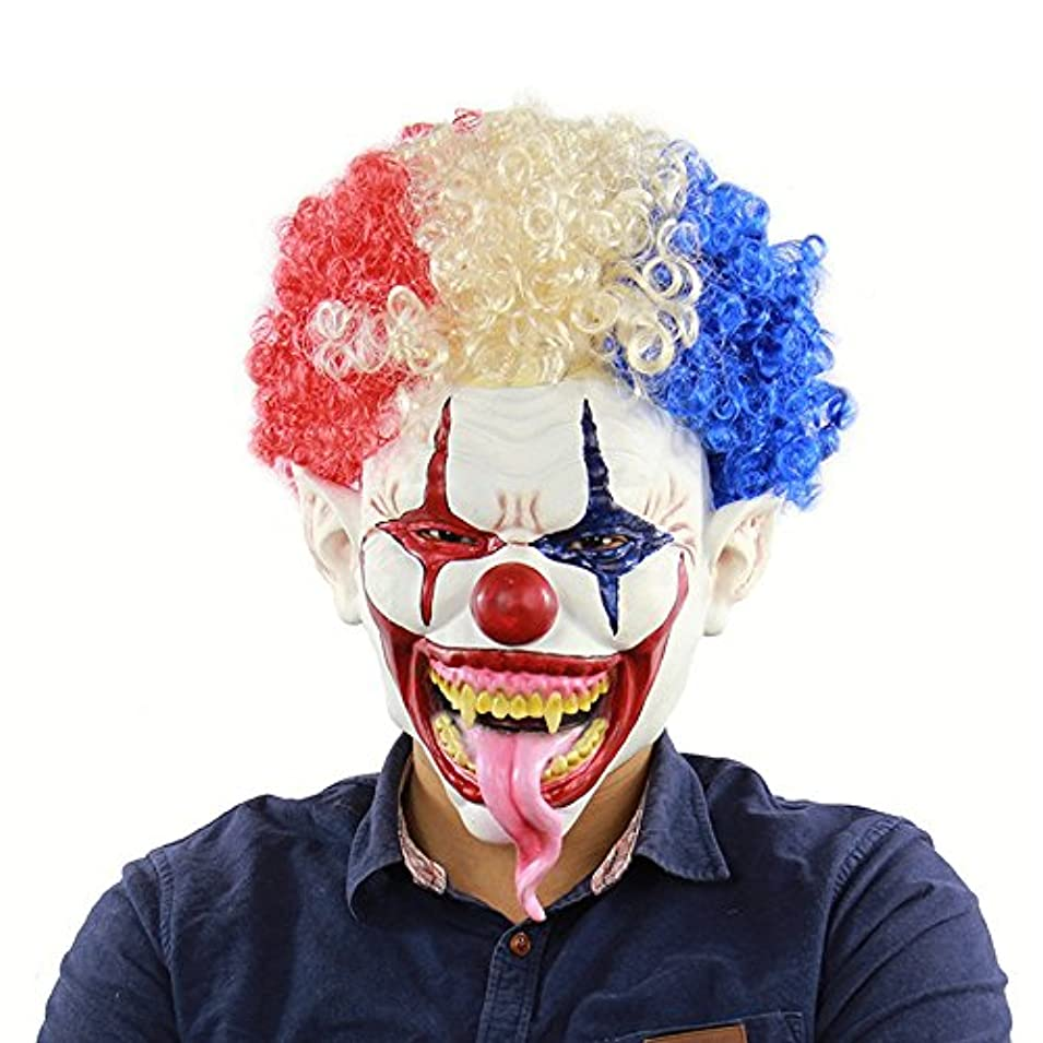 遊びます才能お手入れ爆発的なヘッド大きな口長い舌ピエロマスクハロウィンアマゾン外国為替ラテックスホラーヘッドカバー
