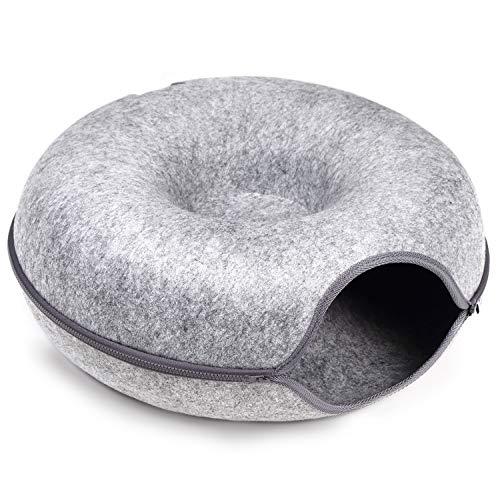 猫の友社 にゃんドーナツ グレー 洗えるフエルト製 ドーム型 猫用ベッド【国内正規品】