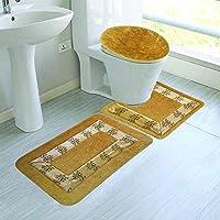 Elegant Home 刺繍バスルームラグ3点セット 浴室ラグラグマット、輪郭マット、蓋カバー 滑り止め ゴム裏地 #5A ゴールド