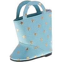 ノーブランド品 スタープリント  PUレザー  ブーツ シューズ  18インチ アメリカンガールドール用 装飾 4色選べる  - ライトブルー