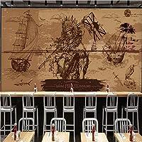 Mbwlkj カスタム3 D壁画ヨーロッパアメリカの郷愁古い海賊壁画バーレストラン背景壁紙-350cmx245cm