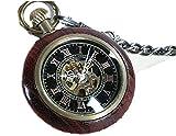 【レトロ/スチームパンク風】木製 機械式 手巻き懐中時計 ウッド アンティーク 中世 ヨーロッパ (A. 木製アンティーク調)