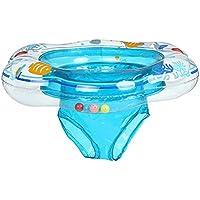 Zhaozhe浮き輪 ベビー浮き輪 水泳補助具 赤ちゃん 足入れ 股ベルト付き 鈴が内臓 耐荷重6-16kg トレーニング 水遊び 入浴(ブルー)
