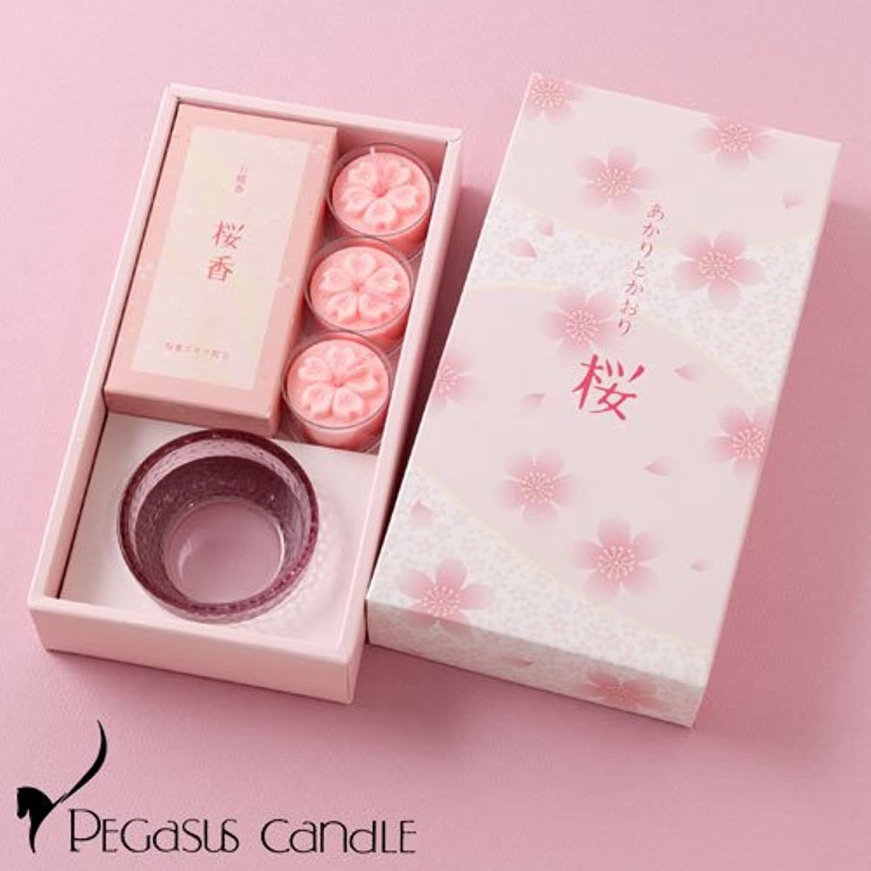 授業料年変位あかりとかおり桜キャンドルと線香のセットペガサスキャンドルCandle and incense set
