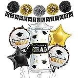 卒業式飾り付け ブラックゴールド CONGRATULATIONSバナー  ペーパーフラワーボール スター CONGRATULATIONSバルーン 卒業パーティー 部屋装飾