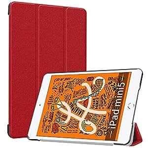 iPad mini 5 ケース TopACE 超薄型 スマートケース スタンド機能付き 高級PU レザーケース iPad mini 5 2019 対応 (レッド)