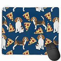 ビーグルピザ犬種食品ネイビーマウスパッド18 x 22 cm