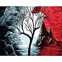 KAHSFA 3Dの壁紙番号火山風景油絵Diyアクリル画木ギフトユニークなキャンバスの壁の芸術による絵画の抽象的なイメージ