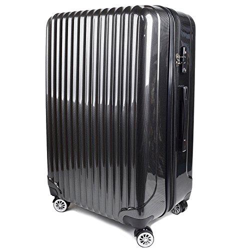 【神戸リベラル】 LIBERAL ポリカーボネート 軽量 S,M,Lサイズ スーツケース キャリーバッグ 拡張型 8輪キャスター TSAロック付き (Lサイズ(長期用 85/95L), ブラックカーボン)