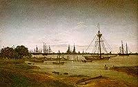 手描き-キャンバスの油絵 - Port by Moonlight ロマンチック Caspar David Friedrich 芸術 作品 洋画 ウォールアートデコレーション -サイズ13