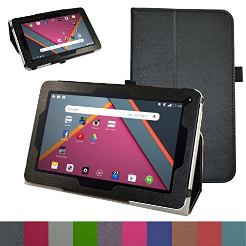 """Mama Mouth PU Leather Folio Stand Case Cover for 10.1"""" Dragon Touch A1x Plus 2016 Edition / A1x / A1/ A1X Plus II,iRULU eXpro X1s,Alldaymall A10x,ValuePad VP112-10 Tablet,Black [並行輸入品]"""