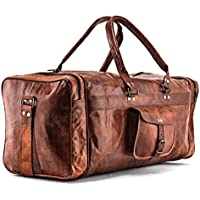 New Mens Genuine Large Leather Duffel Travel Gym Sports Overnight Weekender Bag by Gbag (T)