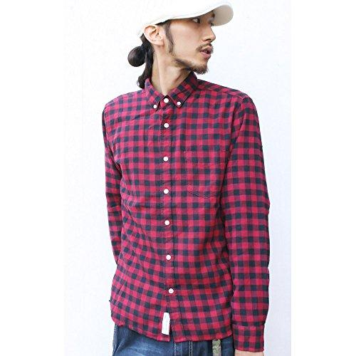 (ジーアールエヌ) grn ギンガムチェック 長袖 シャツ ネルシャツ メンズ/レディース 2(M) レッド