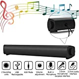Computer Speakers, 15.7 Inches 6W USB-Powered Drive with Built-In Stereo Microphone Wired Speaker Bar, 3.5 Mm Auxiliary Input Connector