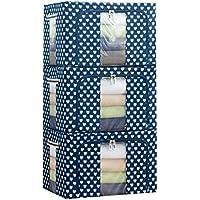 [QIFENGDIANZI]布団収納袋 衣類収納ケース ワイヤー入り 大容量 クリア窓付き 片づけ 引っ越しバッグ 運搬 防水防塵 湿気防止 カビ対策 水洗い 通気性抜群 3枚組 ブルー 66L