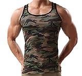 natural age 【ナチュラルあげ】 メンズ タンクトップ 吸汗速乾 迷彩 ミリタリー トレーニング スポーツウェア (XL, 迷彩)