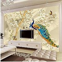 Xbwy カスタム壁画壁紙3Dステレオマグノリア花孔雀壁画リビングルームテレビソファ背景-250X175Cm