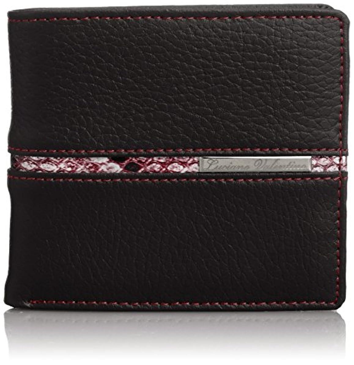 バラ色シフトとにかく[ルチアノバレンチノ] 二つ折り財布 牛革×パイソンレザー LUV-1022