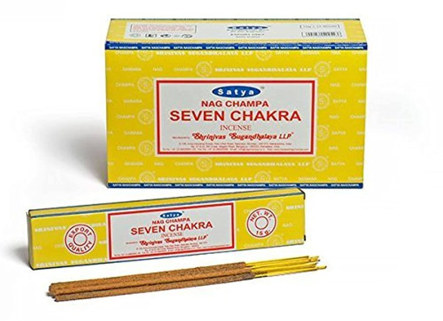 前奏曲熱望する味方Buycrafty Satya Champa Seven Chakra Incense Stick,180 Grams Box (15g x 12 Boxes)