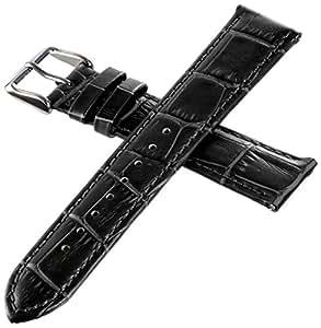 イタリアンレザー 本革 時計用 ベルト ワンタッチで装着簡単 バネ棒加工付き (ブラック, 20mm)