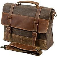 SVANZE Men's Messenger Bag, 15 Inch Vintage Waxed Canvas Genuine Leather Large Satchel Shoulder Bag Waterproof Canvas Leather Computer Laptop Bag, Tablet Messenger Bag