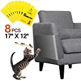 "One Sight 8pcs Cat Scratch Furniture Protector Large (12"" x 17"") Cat Couch Protector Clear Double Sided Anti Scratch Cat Deterrent Training Tape, Cat Sticky Paws Tape for Furniture,Sofa,Wall,Mattress"
