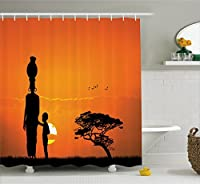Ambesonne Afro Decor Shower Curtain, Child and Mother at Sunset Walking in Savannah Desert Dawn Kenya Nature Image, Fabric Bathroom Decor Set with Hooks, 70 Inches, Orange Black [並行輸入品]