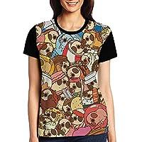 パグと食べ物 バテンム レディース 3Dプリント tシャツ 半袖 夏 人気 オシャレ