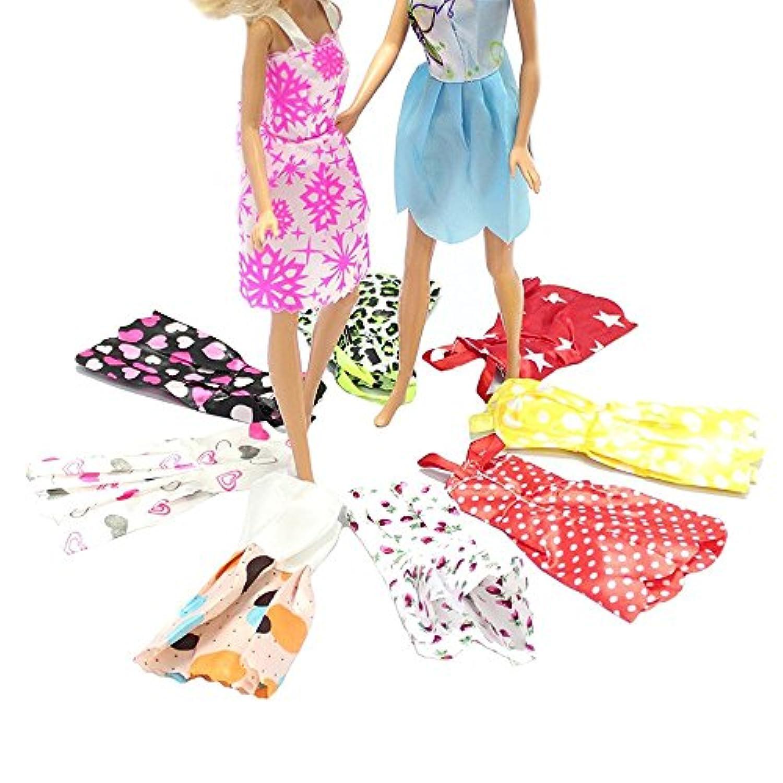 Asiv 10枚セット ファッション バービー人形 ドレス 手作り パーティ服 バービー人形用 ランダム スタイル
