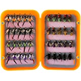 Piscifun 40pcs Wet Flies Fly Fishing Flies Kit Bass Salmon Trouts Flies Floating/Sinking Assortment with Fly Box